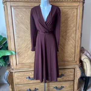 H&M Burgundy Faux Wrap Belted Gathered Dre…